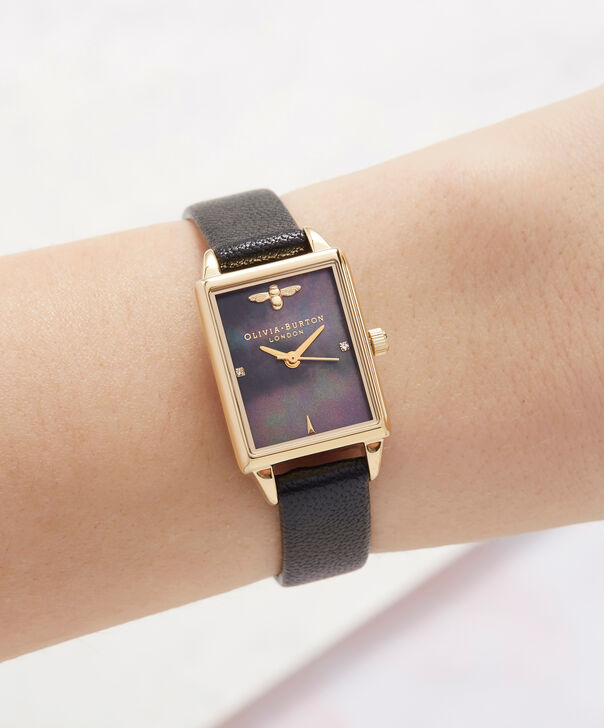 OLIVIA BURTON LONDON  Bee Hive Black Mother of Pearl, Black & Gold OB16BH02 – Midi Dial Rectangle in Gold and Black - Other view