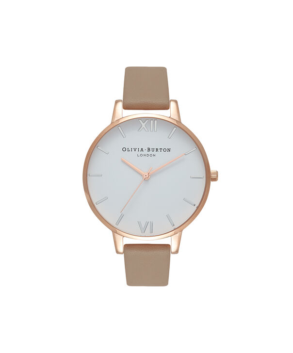 OLIVIA BURTON LONDON  White Dial Sand, Rose Gold & Silver Watch OB16BDW31 – Big Dial in Rose Gold, White and Sand - Front view