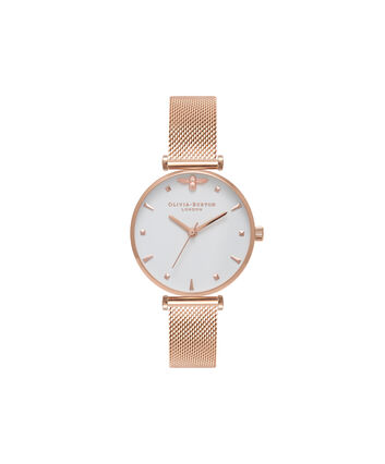 OLIVIA BURTON LONDON  Rose Gold Mesh Watch OB16AM105 – Midi Dial in White and Rose Gold - Front view