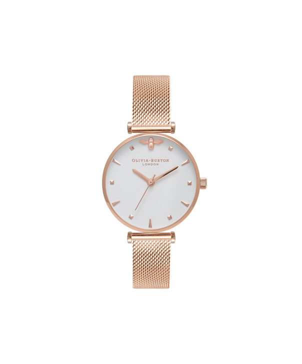 Ladies Rose Gold Mesh Watch | Olivia Burton London