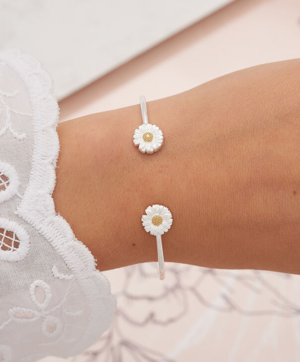 OLIVIA BURTON LONDON Daisy & Ball Chain Bracelet Silver & GoldOBJ16DAB01 – 3D Daisy Chain Bracelet - Other view