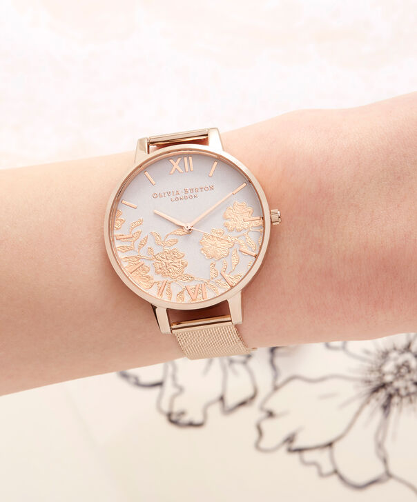 OLIVIA BURTON LONDON  Lace Detail Blush & Rose Gold Mesh Watch OB16MV79 – Big Dial Round in Blush and Rose Gold - Other view