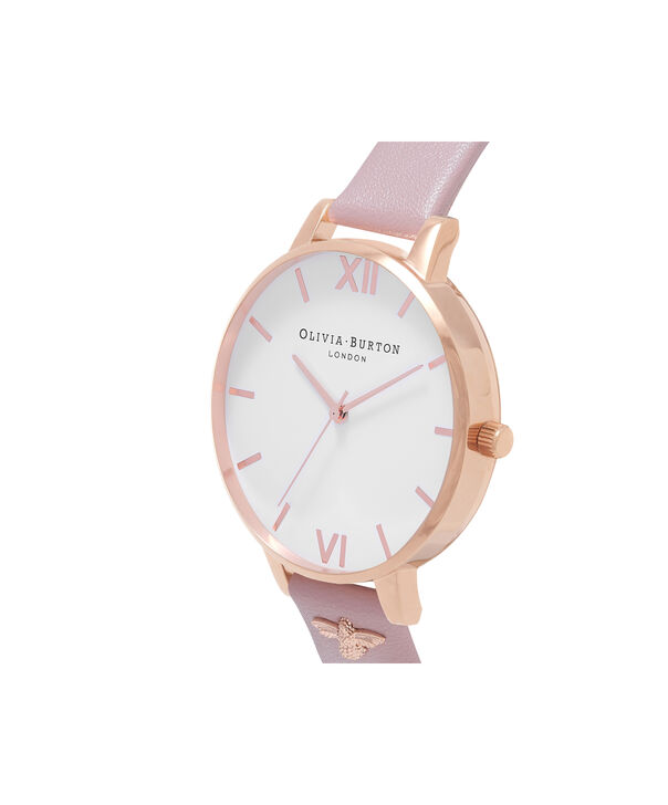 OLIVIA BURTON LONDON  3D Bee Embellished Strap Soft Rose & Rose Gold Watch OB16ES15 – Big Dial Round in White and Rose Gold - Side view