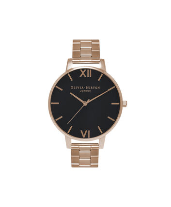 OLIVIA BURTON LONDON  Black Dial & Gold Watch OB15BL23 – Big Dial Round in Black and Gold - Front view