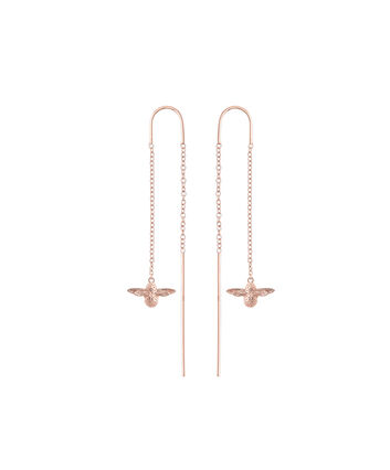 OLIVIA BURTON LONDON  3D Bee Threader Earrings Rose Gold OBJ16AME13 – 3D Bee Chain Earrings - Front view
