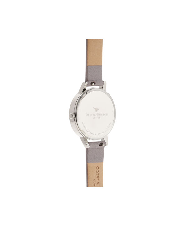 OLIVIA BURTON LONDON  Glasshouse Grey Lilac Rose Gold & Silver OB16EG104 – Big Dial Round in Silver and Grey - Back view