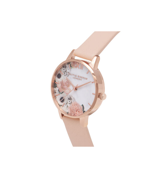 OLIVIA BURTON LONDON  Marble Floral Rose Gold Watch  OB16MF03 – Midi Dial Round in Nude Peach and Rose Gold - Side view