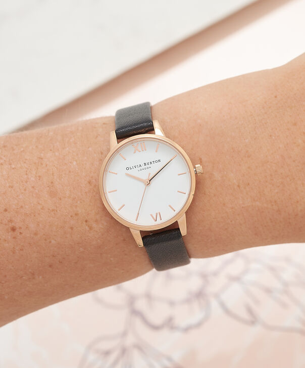 OLIVIA BURTON LONDON  White Dial Midi Black & Rose Gold Watch OB16MDW07 – Midi Dial Round in White and Black - Other view