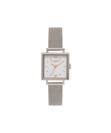 OLIVIA BURTON LONDON  Midi Square Dial Silver Mesh Watch OB16SS06 – Big Dial Square in White and Silver - Front view
