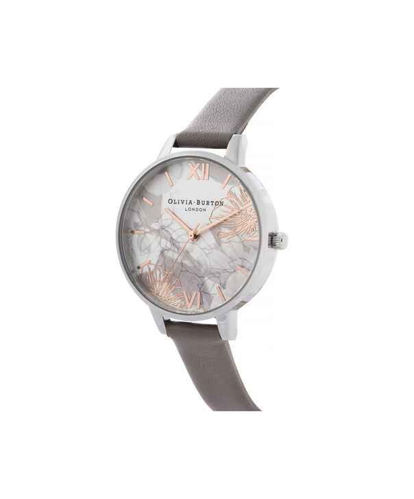 OLIVIA BURTON LONDON Abstract Florals Demi Dial WatchOB16VM32 – Demi Dial in grey and Silver - Side view