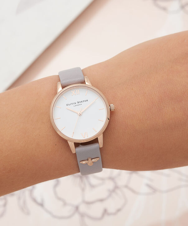 OLIVIA BURTON LONDON  3D Bee Embellished Strap Grey Lilac & Rose Gold Watch OB16ES11 – Midi Dial Round in Rose Gold and Grey Lilac - Other view