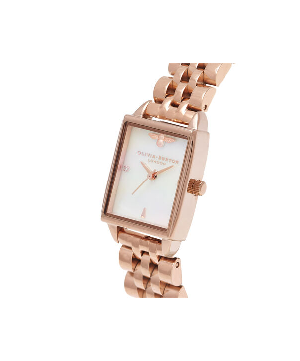 OLIVIA BURTON LONDON Bee Hive White Mother of Pearl & Rose GoldOB16BH01 – Midi Dial Rectangle in Rose Gold and Rose Gold - Side view