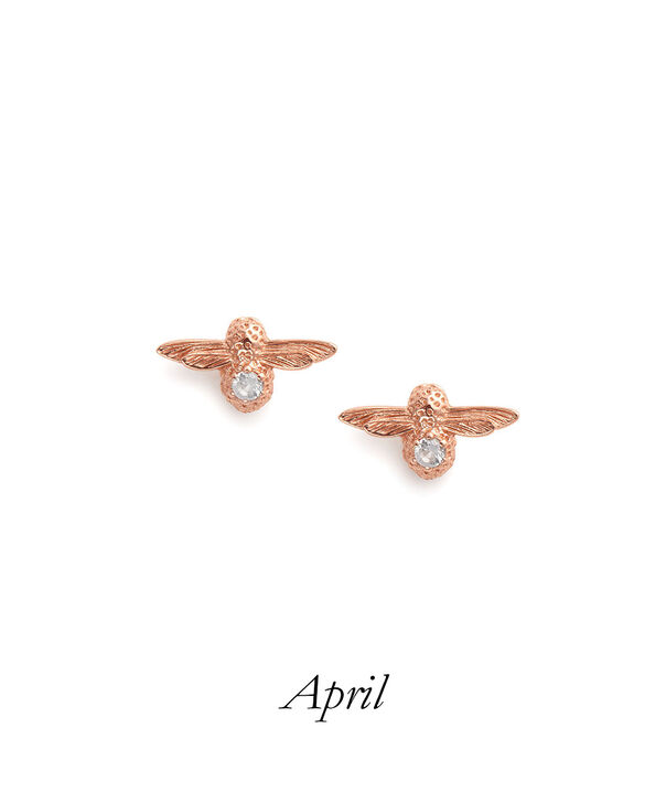 OLIVIA BURTON LONDON Celebration Bee Studs Rose Gold & White TopazOBJAME98 – Celebration Bee Studs Rose Gold & White Topaz - Front view