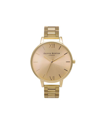 OLIVIA BURTON LONDON Sunray DialOB13BL08BS – Big Dial Round in Gold - Front view