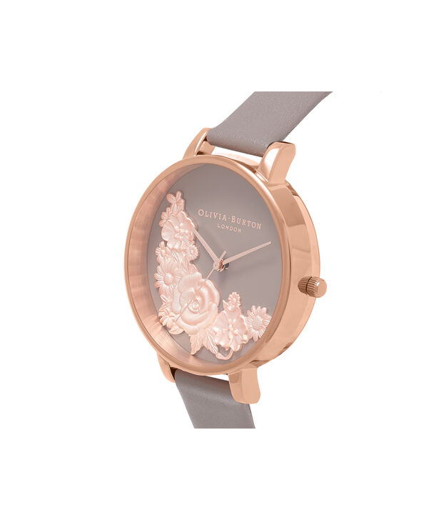 OLIVIA BURTON LONDON  Floral Bouquet London Grey & Rose Gold Watch OB16FS99 – Big Dial Round in Floral and Rose Gold - Side view