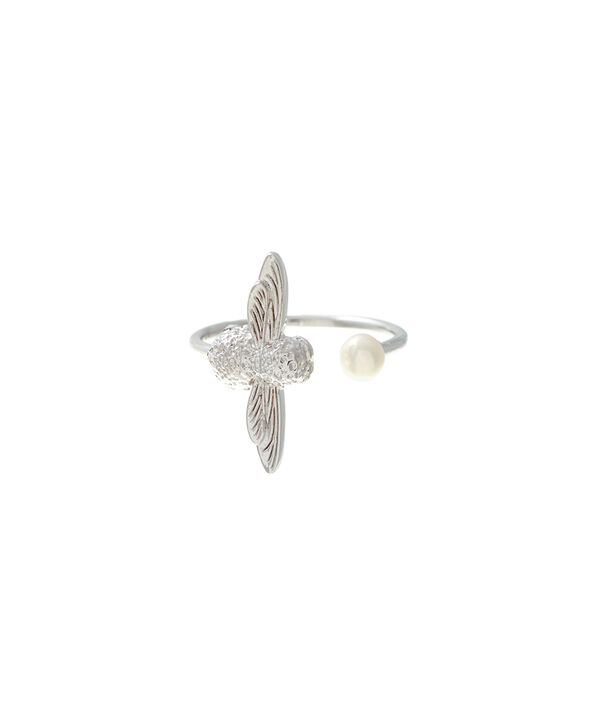 OLIVIA BURTON LONDON  Pearl Bee Ring Silver  OBJ16AMR10 – Pearl Bee Ring - Front view