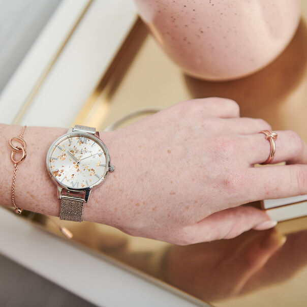 OLIVIA BURTON LONDON Celestial Demi Dial Watch with Boucle MeshOB16GD14 – Demi Dial in silver and Silver & Rose Gold - Other view