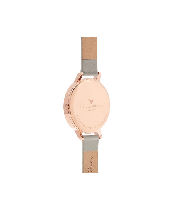 OLIVIA BURTON LONDON  Parlour Bee Blooms, Grey & Rose Gold Watch OB16PL30 – Big Dial Round in Parlour and Grey - Back view