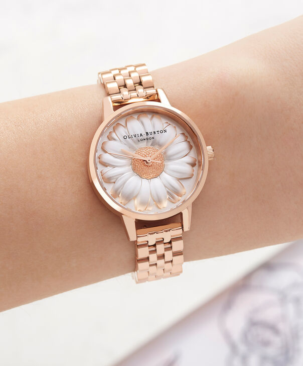 OLIVIA BURTON LONDON  3D Daisy Rose Gold Bracelet OB16FS102 – Midi Dial Round in Rose Gold - Other view