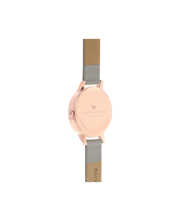 OLIVIA BURTON LONDON Lace Detail Grey & Rose Gold Watch OB16MV58 – Midi Dial Round in Grey - Back view