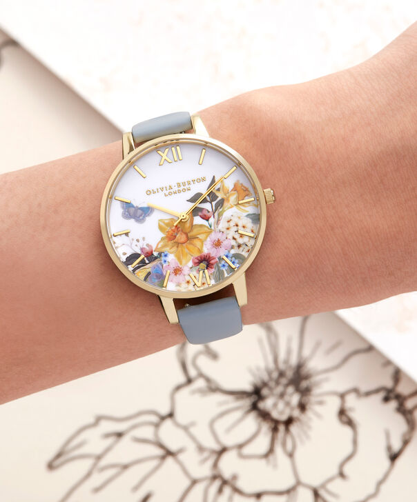OLIVIA BURTON LONDON  Enchanted Gardens Blue & Rose Gold Watch OB16FS96 – Big Dial Round in Blue and Floral - Other view