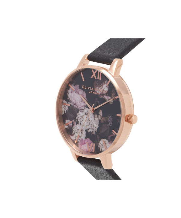 OLIVIA BURTON LONDON  Signature Floral Black & Rose Gold Watch OB15WG12 – Big Dial Round in Floral and Black - Side view