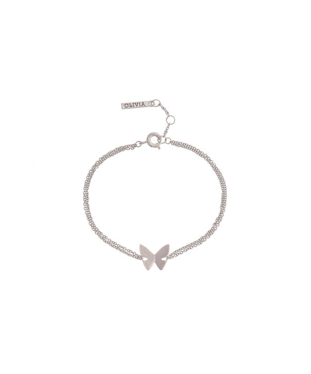 OLIVIA BURTON LONDON Social Butterfly Chain Bracelet Silver OBJ16SBB03 – Social Butterfly Chain Bracelet - Front view