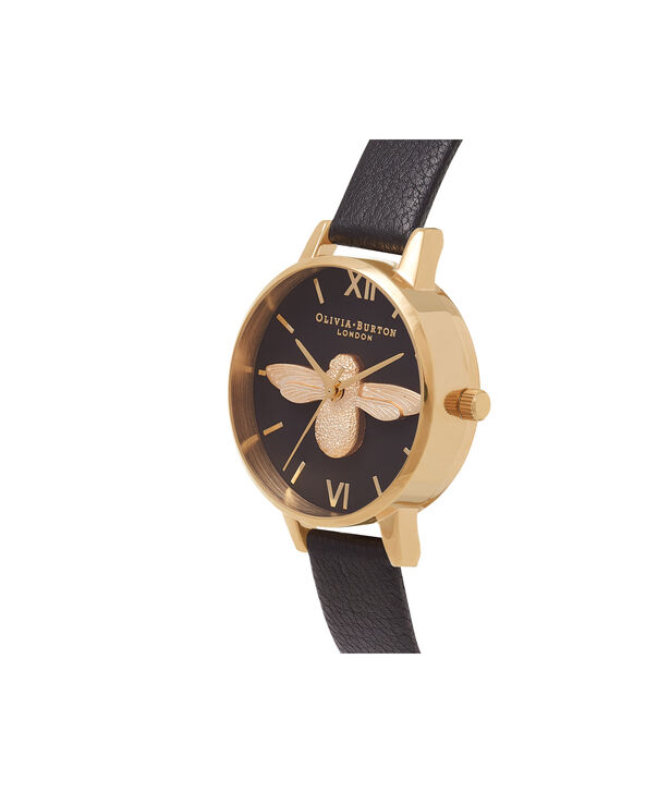 OLIVIA BURTON LONDON  Midi 3D Bee Black & Gold Watch OB16AM118 – Midi Dial Round in Black - Side view