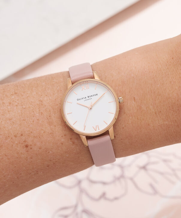 OLIVIA BURTON LONDON  White Dial Rose & Rose Gold Watch OB16MDW03 – Midi Dial Round in White and Rose - Other view