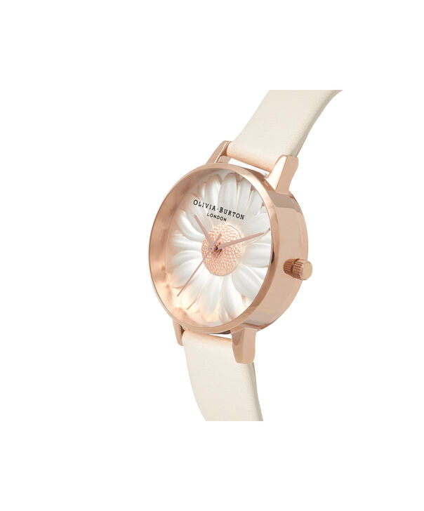 OLIVIA BURTON LONDON  3D Daisy Vegan Nude & Rose Gold OB16FS101 – Midi Dial Round in Gold - Side view
