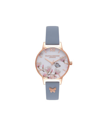 OLIVIA BURTON LONDON Pretty BlossomOB16ES08 – Midi Dial Round in Rose Gold and Chalk Blue - Front view