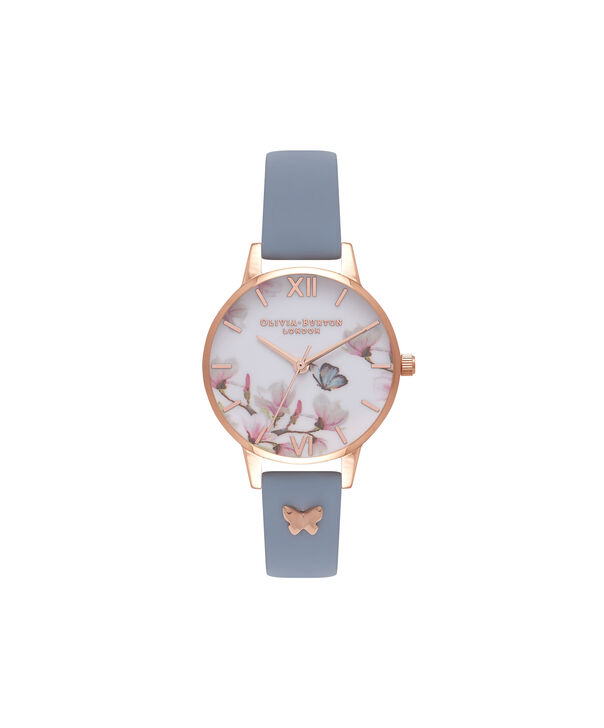 OLIVIA BURTON LONDON  Pretty Blossom Blue & Rose Gold Watch OB16ES08 – Midi Dial Round in Rose Gold and Chalk Blue - Front view