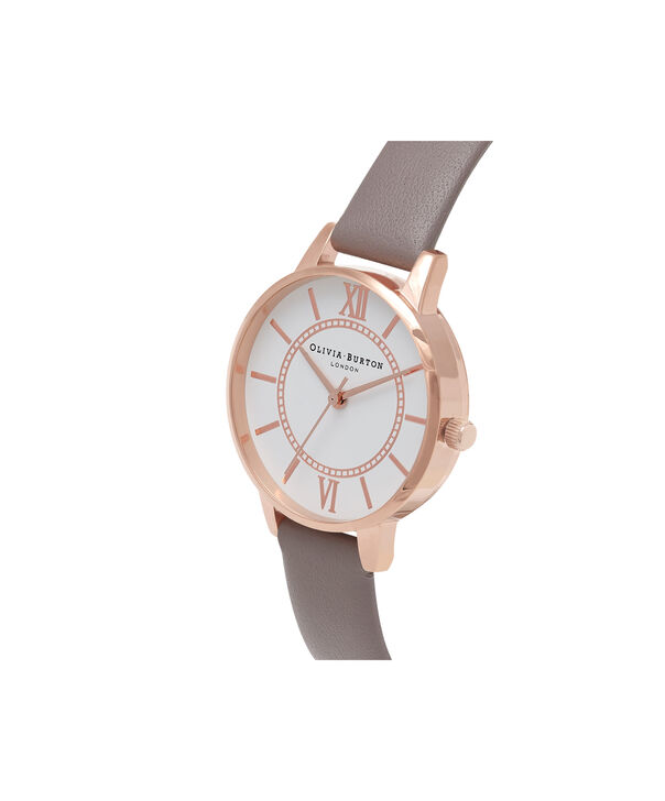 OLIVIA BURTON LONDON  Wonderland London Grey & Rose Gold Watch OB16WD63 – Midi Dial Round in Silver and Grey - Side view