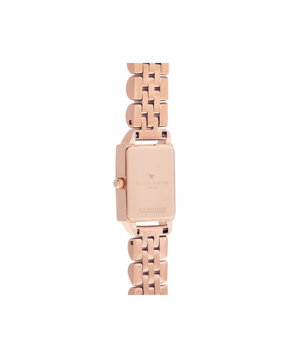 OLIVIA BURTON LONDON  Bee Hive White Mother of Pearl & Rose Gold OB16BH01 – Midi Dial Rectangle in Rose Gold and Rose Gold - Back view