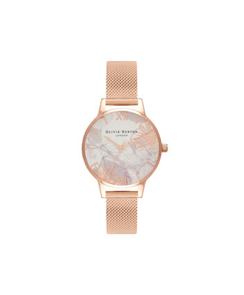 OLIVIA BURTON LONDON Abstract Florals Rose Gold Mesh Watch  OB16VM11 – Midi Dial in White and Rose Gold - Front view