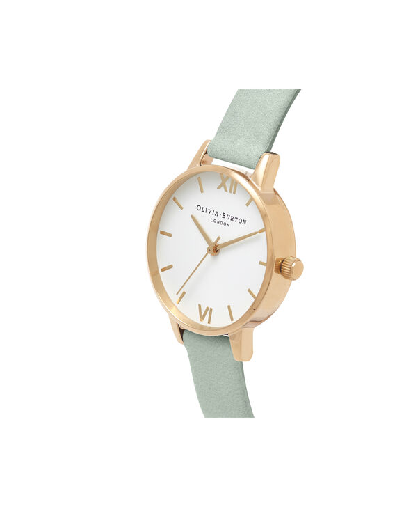 OLIVIA BURTON LONDON  White Dial Sage & Gold OB16MDW37 – Big Dial Round in Gold - Side view