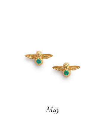 OLIVIA BURTON LONDON Celebration Bee Studs Gold & Green AgateOBJAME99 – Celebration Bee Studs Gold & Green Agate - Front view
