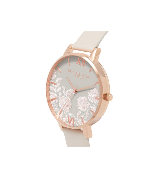 OLIVIA BURTON LONDON  Lace Detail Nude & Rose Gold Watch OB16MV80 – Big Dial Round in Rose Gold and Nude - Side view