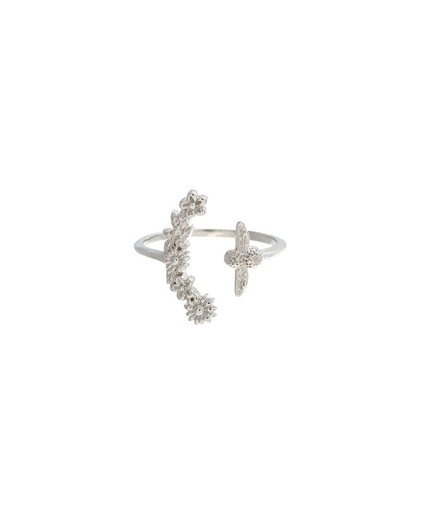 OLIVIA BURTON LONDON  Bee Blooms Ring Silver  OBJ16BBR03 – Bee Blooms Ring - Front view