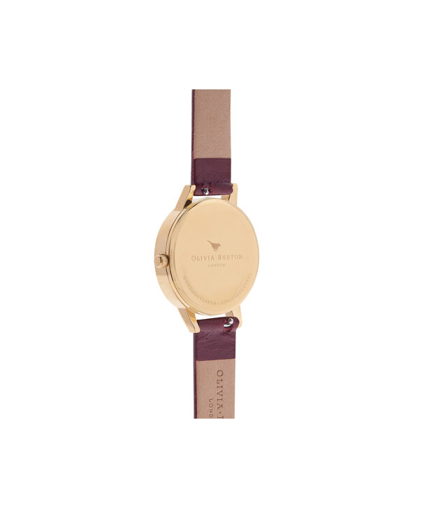 OLIVIA BURTON LONDON  Midi White Dial Burgundy & Gold Watch  OB16MDW31 – Midi Dial Round in Rose Gold, White and Burgundy - Back view