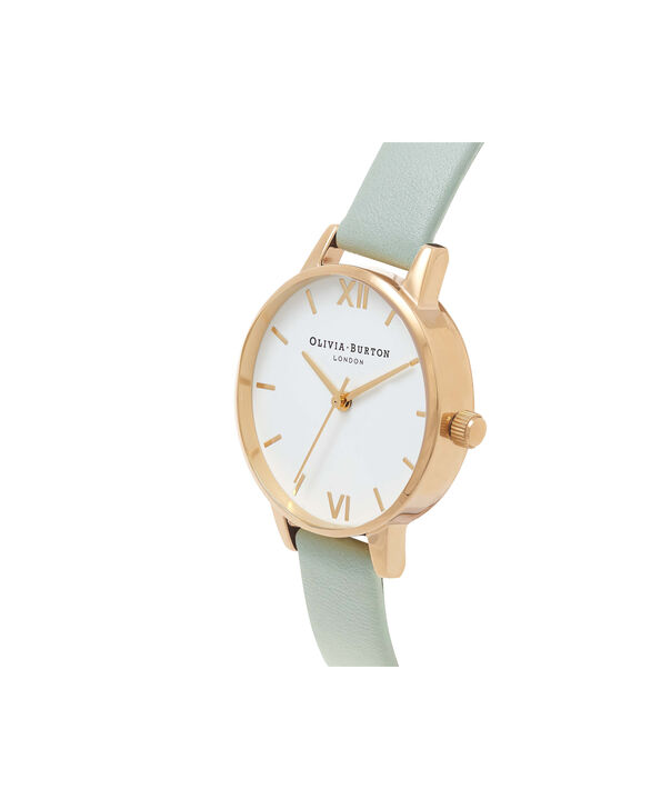 OLIVIA BURTON LONDON  Midi Dial Mint & Gold Watch OB16MDW14 – Midi Dial Round in White and Mint - Side view