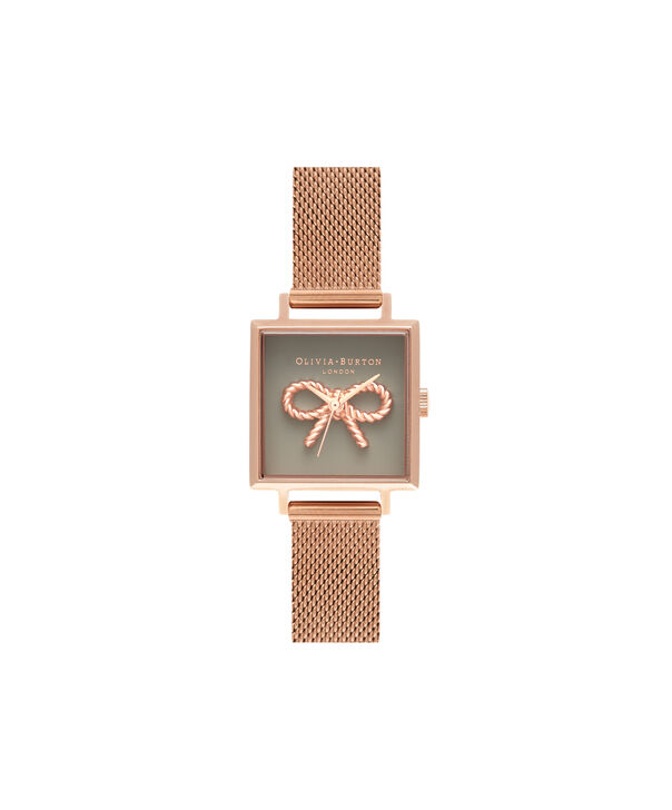 OLIVIA BURTON LONDON  Vintage Bow Grey & Rose Gold Mesh OB16VB10 – Midi Dial Round in Rose Gold - Front view