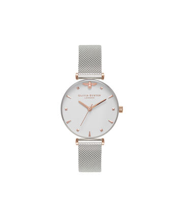 OLIVIA BURTON LONDON  Queen Bee Silver Mesh Watch OB16AM140 – Midi Dial Round in White and Rose Gold - Front view