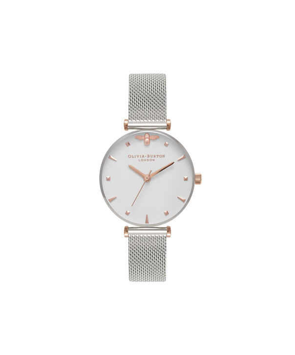 OLIVIA BURTON LONDON Queen Bee Silver Mesh Watch OB16AM140 – Midi Dial  Round in White and ... ba973f0e19