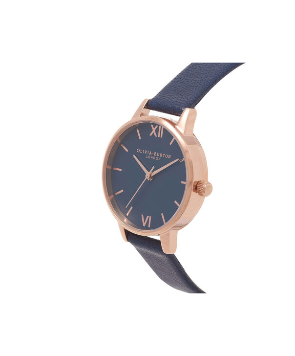 OLIVIA BURTON LONDON  Midnight & Rose Gold Watch OB16MD66 – Midi Dial Round in Navy and Navy - Side view