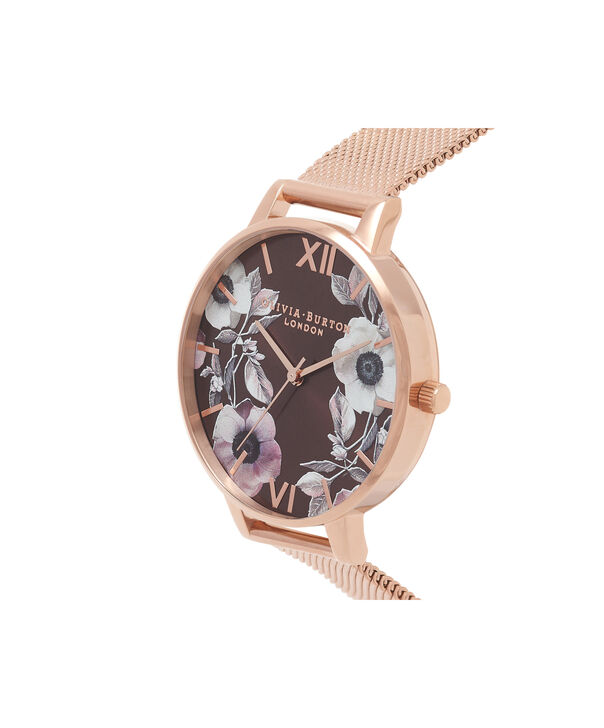OLIVIA BURTON LONDON  Midi Signature Floral Rose Gold Mesh Watch OB16PL26 – Big Dial Round in Rose Gold and Chocolate - Side view
