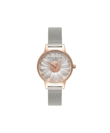 OLIVIA BURTON LONDON  3D Daisy Rose Gold & Silver Mesh Watch OB16FS94 – Midi Dial Round in White and Silver - Front view