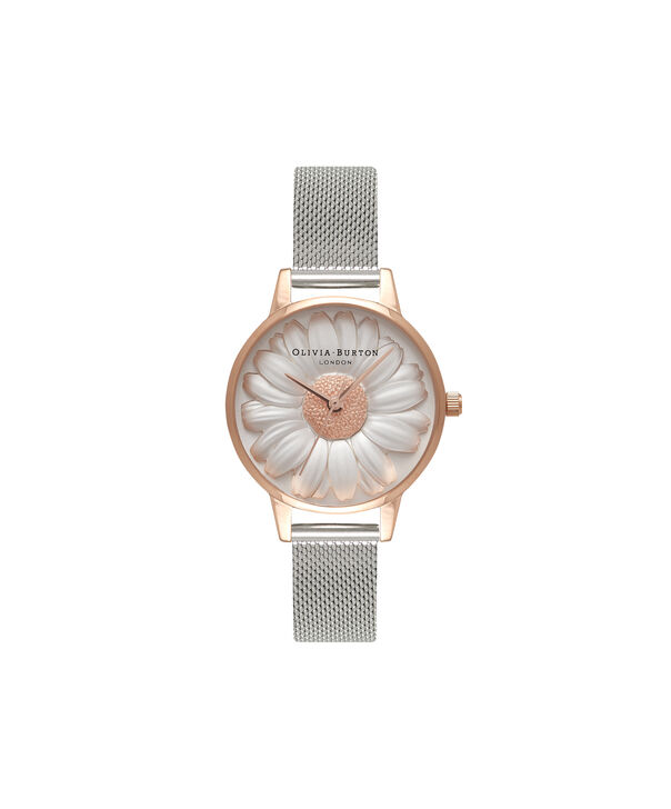 Ladies 3D Daisy Rose Gold & Silver Mesh Watch | Olivia Burton London
