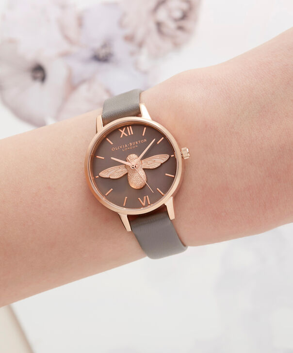 OLIVIA BURTON LONDON  3D Bee London Grey & Rose Gold OB16AM148 – Midi Dial Round in Grey and Rose Gold - Other view