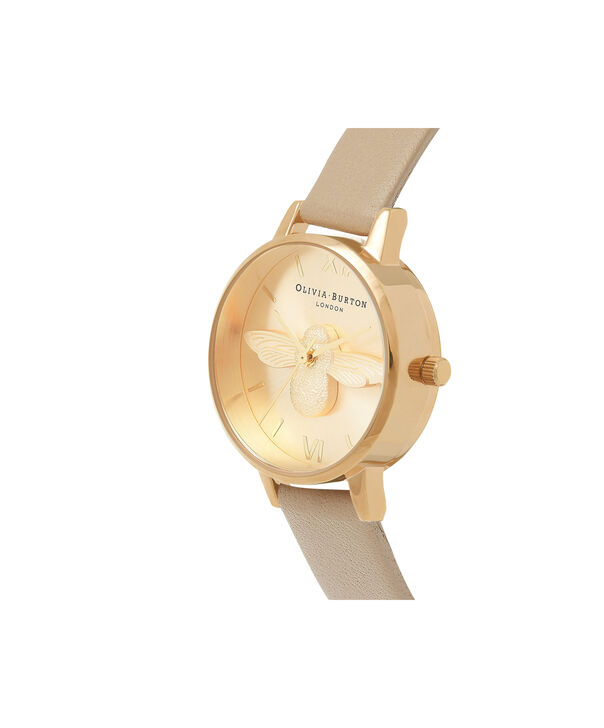 OLIVIA BURTON LONDON  3D Bee Sand & Gold OB16AM150 – Midi Dial Round in Gold and Brown - Side view
